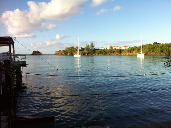 True Blue Bay Boutique Resort : The view from the waterfront restaurant.