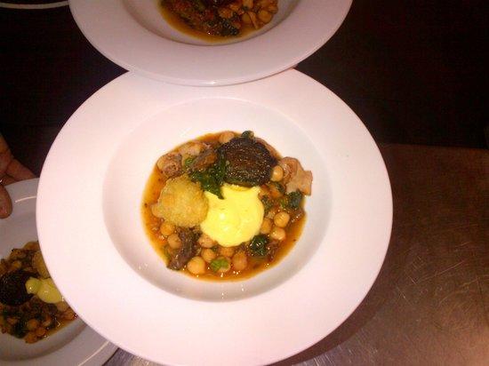Owens Restaurant: Cuttlefish, Chickpea & Morcilla Stew, Saffron Aioli