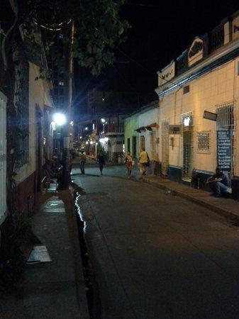 Casa Viena: street view at night