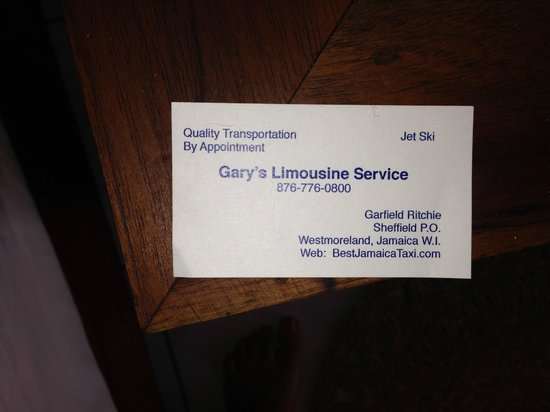 Business Card Picture Of Gary S Jamaican Taxi Tours Negril