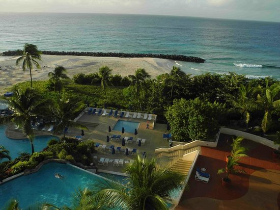 Hilton Barbados Resort: View of the beach and one of the pools from the 6th Floor