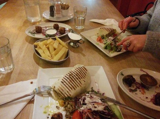 The Olive Tree: Veggie wrap with falafels and onion bhajis