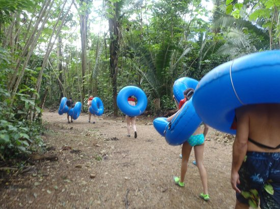 Butts Up Cave Tubing: Walking thru the jungle