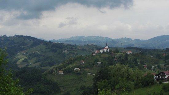 Podcetrtek, Slovenia: вид с холма от Apartments Plevnik