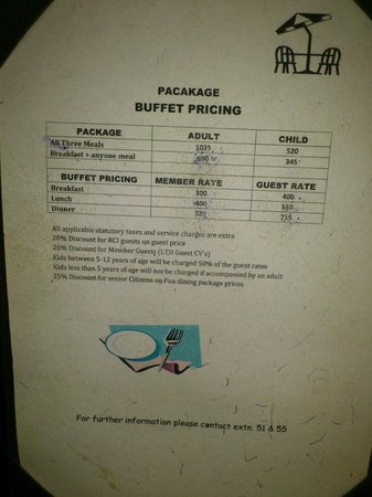 Club Mahindra Fort Kumbhalgarh: Important: FOOD Charges