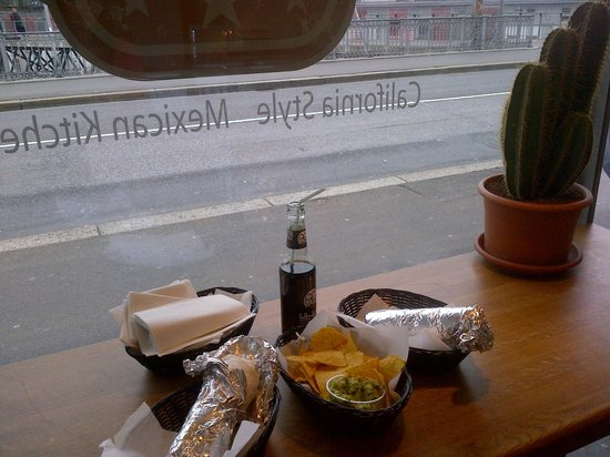 Burrito Brothers: 2 burritos, chips, guacamole, cool cola, cactus (not for eating)