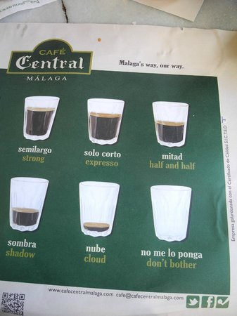 Cafe Central: Quirky wording on placemat