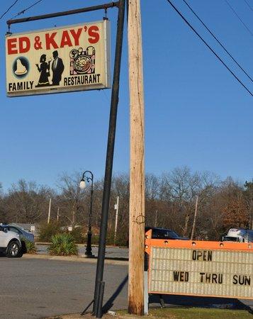 Ed & Kay's Restaurant: road sign, Benton, AR along I-30