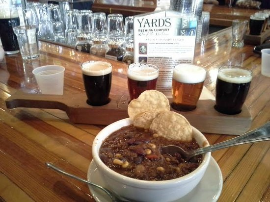 Yards Brewing Company: Bison Chili and Revolutionary Ale Flight
