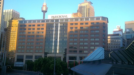 PARKROYAL Darling Harbour Sydney: View of hotel from bridge to main precinct