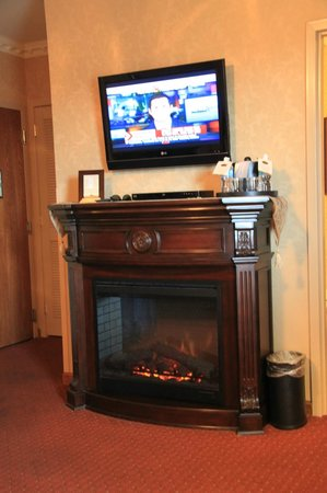 Fulton Steamboat Inn: Fireplace in our room