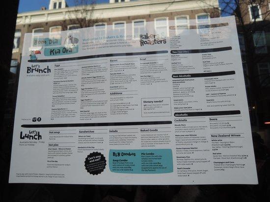 menu - bild von bakers & roasters, amsterdam - tripadvisor
