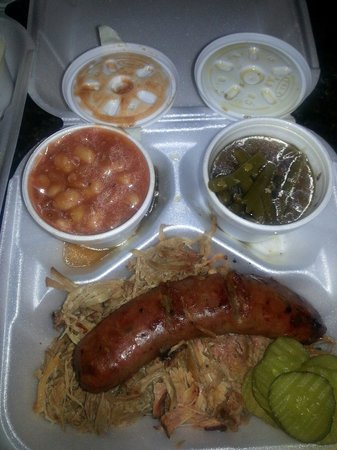 Center Point Bar-B-Que: BBQ plate with green beans, baked beans.