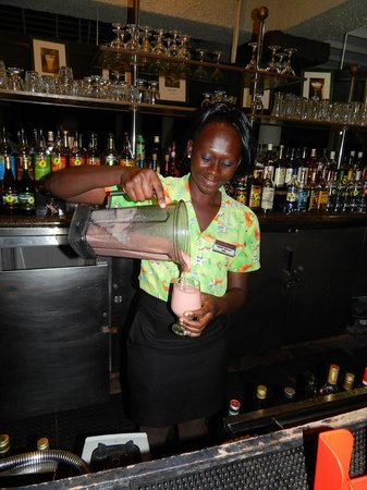 "Hedonism II: Nothing better than to have staff make our favorite drink ""Hummingbird"" with fresh bananas"