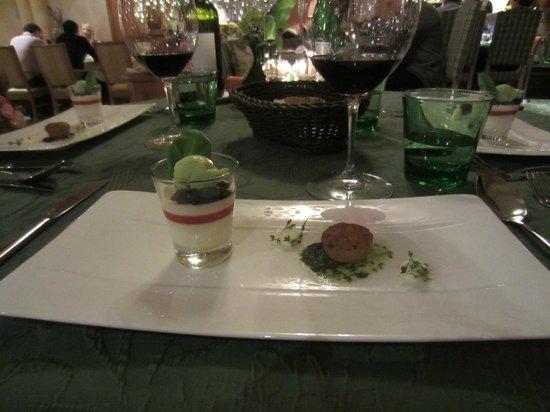 Stock Resort : Dinner am Abend, ein Zwischengang vom 6-Gänge Menü