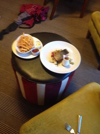Hotel St Moritz Queenstown - MGallery Collection: a yummy room service dinner after completing Milford sound hike!
