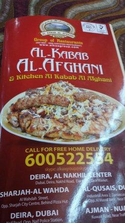 The Menu Picture Of Al Kabab Al Afghani Restaurant Dubai