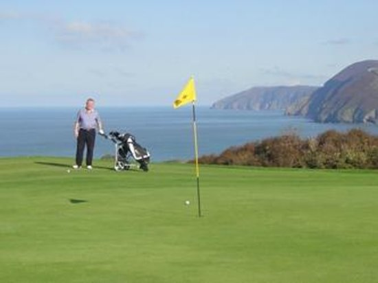 Ilfracombe Golf Club : view from 2nd green over the Bristol Channel and Combe Martin Bay