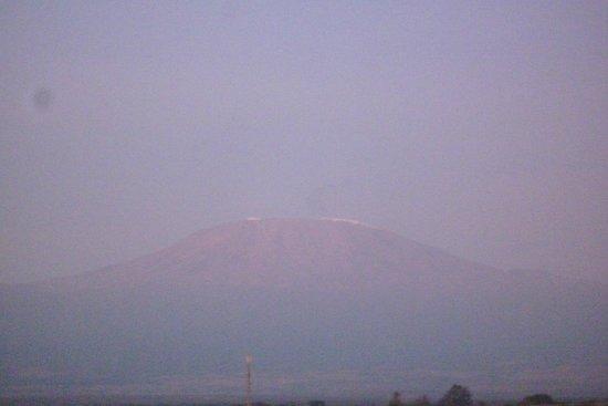 Amboseli National Park: The mountain top of Kilimanjaro as viewed from Amboseli
