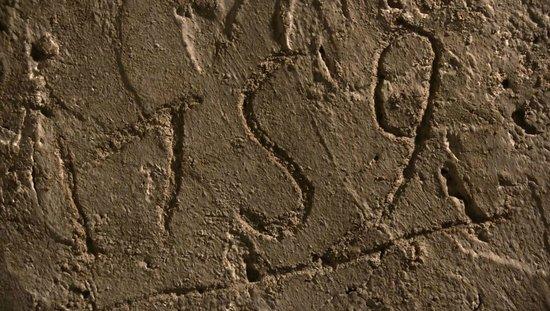 Narni Sotterranea : Uno dei graffiti nella cella indica la data 1759, durante l'inquisizione