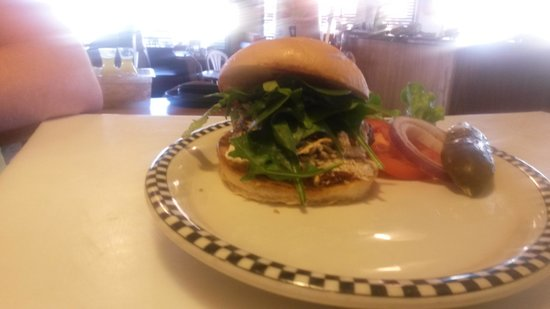 Black Bear Diner: sundryed tomatoe chiken salad on a grilled bun