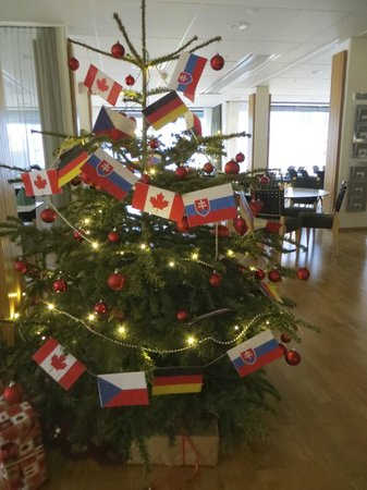 Scandic S:t Jörgen: Creative staff decorated tree with flags of 4 hockey teams staying there for IIHF World Juniors.