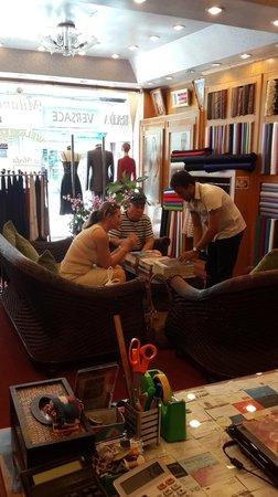 La Moda suits: inside of shop