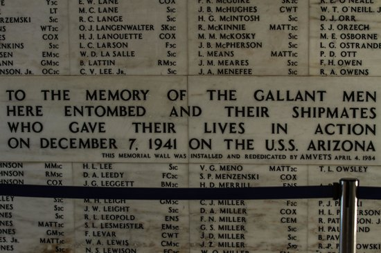 USS Arizona Memorial/World War II Valor in the Pacific National Monument: Wall of Honor