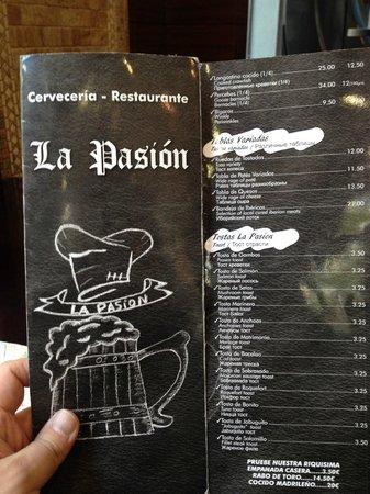 La Pasion: меню