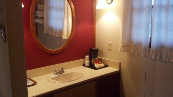 Homestead Inn Motel: Sink, mirror, and coffee