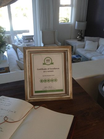 Sea Five Boutique Hotel : a well deserved certificate
