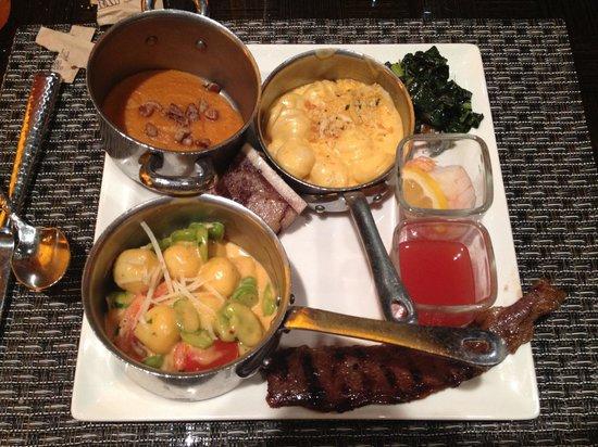 Wicked Spoon: Sweet potato purée, gnocchi with favas, tomatoes and cream, Korean skirt steak, kale salad, agua
