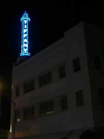 The iconic Tiffany sign atop the hotel