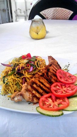 Ambience Bar & Grill : Grilled Fish with Veg-Chow Mein