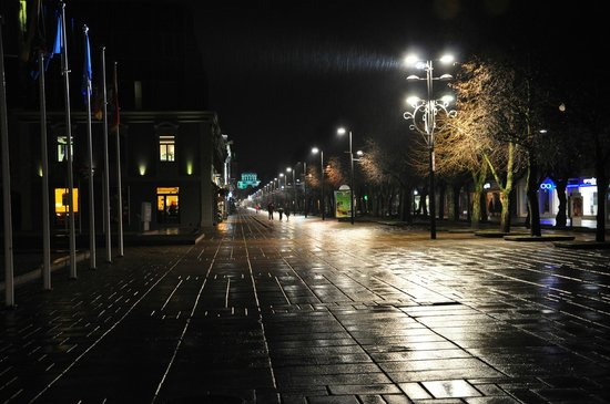 Laisves aleja (Liberty Boulevard) : аллея январской ночью