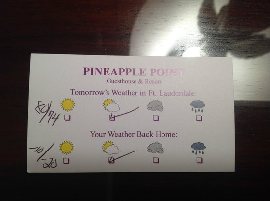 Pineapple Point Guest House and Resort: A reminder of how cold it is back home - provided at turndown.