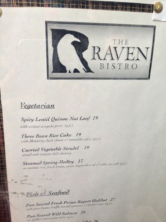 The Raven Bistro : The menu which held so much promise
