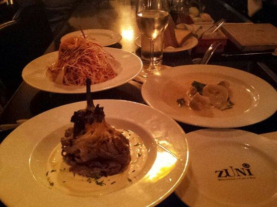 Zuni: Eggplant with oily, root vegetables salad and tortellini