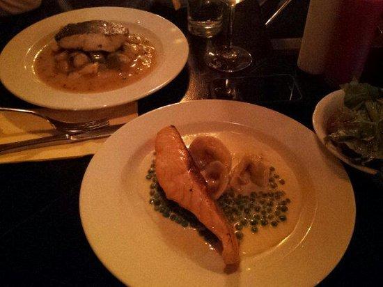 Zuni: Salmon and tortellini. Lavrak fish
