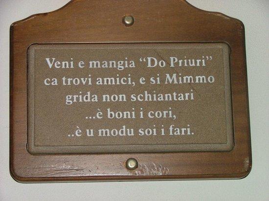 """Ristorante """"Do' Priuri"""" : la tavola delle leggi del priore"""