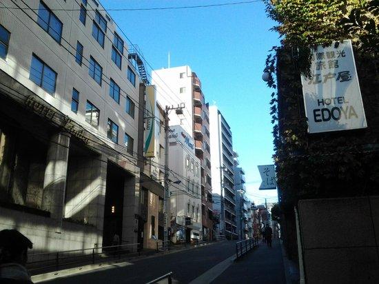 Hotel Edoya from the station (walk up)