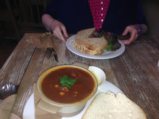 Toast: Hot mexican soup/stew and a cheese & pickle sandwich