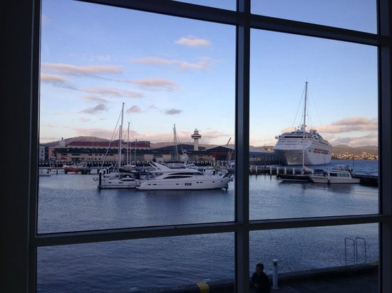 "Somerset on the Pier Hobart: View from the seats on the landing on the ""Premium"" side (going up the stairs)"