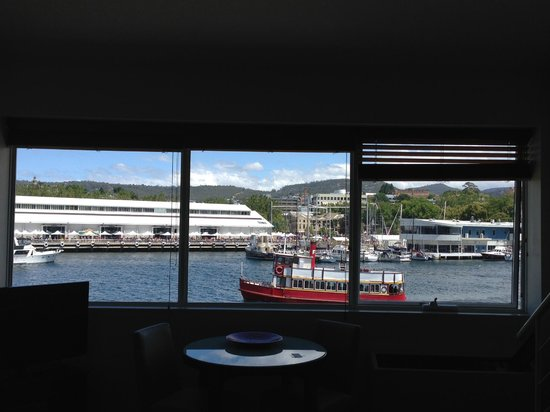Somerset on the Pier Hobart: The three paned window view from the room without balcony