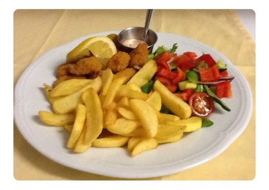 The Step Inn: Breaded Scottish Scampi with Chips & Side Side