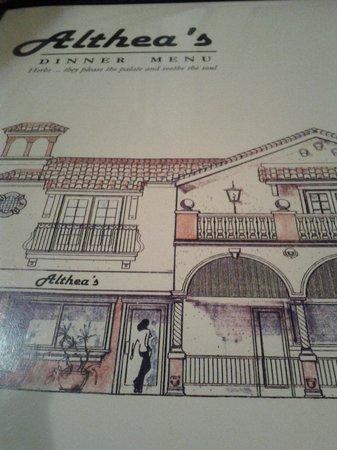 Althea's: Althea restaurant menu