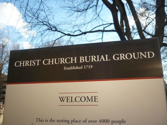 Christ Church Cemetery : Christ Church Burial Grounds Sign