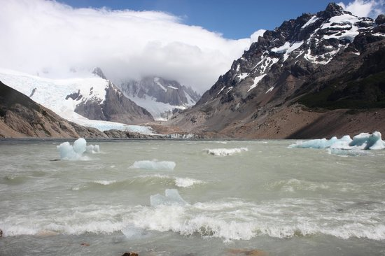 Cerro Torre: Wind driven ice from the shore
