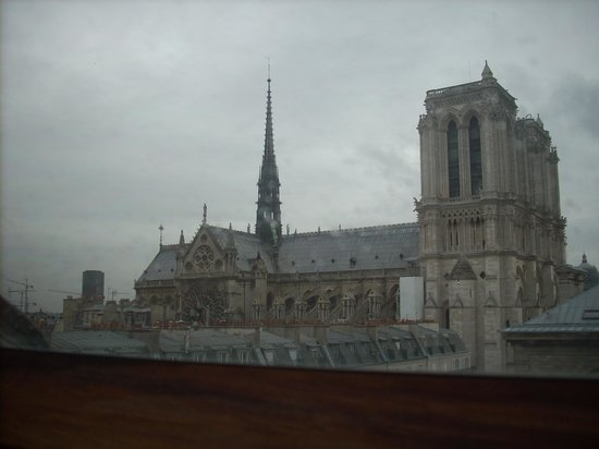 Hospitel-Hotel Dieu Paris: View of Notre Dame (standing on bed)
