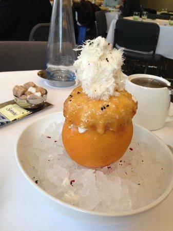 "Boulud Sud : Grapefruit icecream dessert with Turkish delight & Iranian? ""cotton candy"""